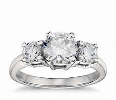 3 band diamond wedding rings classic three stone diamond engagement ring in platinum blue nile