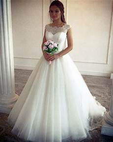 vintage lace cap sleeves tulle princess wedding dresses ball gowns alinanova