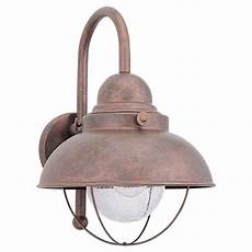 sea gull lighting sebring 1 light weathered copper outdoor wall fixture 8871 44 the home depot