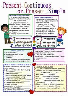 present continuous or present simple worksheet free esl