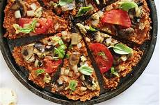 pizza with pepper flax crust vegan one green