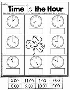 printable time worksheets for 1st grade 3732 time by the hour kinderland collaborative cut and paste the hours and st