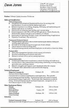 skill based resume sle quality assurance technician