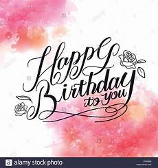 happy birthday calligraphy design with watercolor