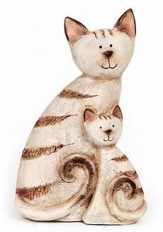deko figur katze katzenmutter mit aus keramik braun