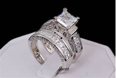 princess cut cz 925 sterling silver wedding band engagement ring size 5 11 ebay