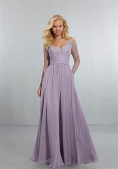 chiffon bridesmaids dress with intricately embroidered and