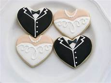 wedding cookie favors tuxedo and gown hearts one dozen
