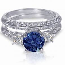 white gold sterling silver brilliant blue sapphire wedding engagement ring ebay