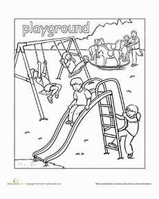 places in the school coloring pages 18035 playground worksheet education