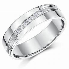 6mm sterling silver channel 7x diamond wedding ring