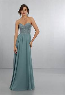 strapless chiffon bridesmaids dress with intricate