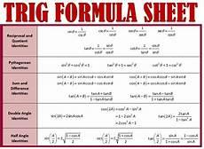 trigonometric equations formulas trig formulas