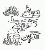 Cartoon Transport Set Coloring Page For Toddlers