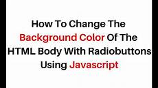 background color change with radio button html5