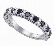 womens 10k white gold 1 09ct black diamond wedding