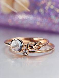 unique engagement ring rose gold moonstone wedding bridal jewelry love knot stacking