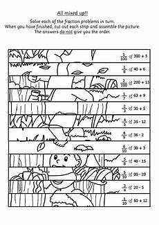 probability worksheets primary resources 5871 children solve the fraction calculations and then cut the picture into strips to rebuild the