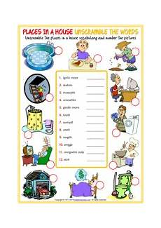 places in the house worksheets 15999 places in a house esl printable vocabulary worksheets