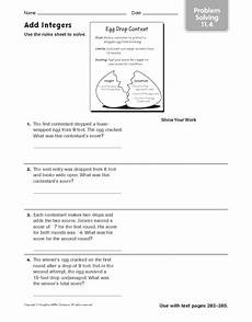 problem solving with integers worksheet add integers problem solving 11 4 worksheet for 5th 7th grade lesson planet