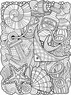 coloring for adults undersea world stock vektor und
