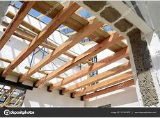 Wooden Roof Building 40 Ft Trusses For Sale   Stock Photo