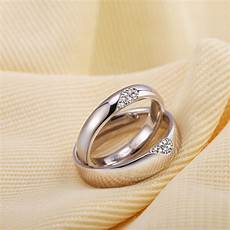 cz diamond accents two half hearts puzzle promise rings for couples domed wedding ring band