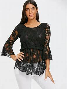 peplum blouse sleeve 2018 lace bell sleeve peplum blouse black xl in blouses