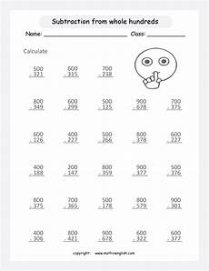 subtraction within 1000 from whole hundreds regrouping worksheet practice and develop the