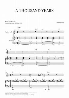 a thousand years for clarinet and piano sheet music pdf