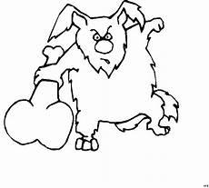 hund kaempft mit knochen ausmalbild malvorlage comics