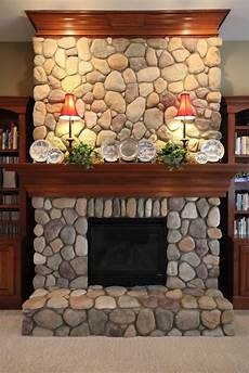 fireplace river rock built ins search refurbish 石積み