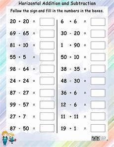 addition worksheets horizontal 8877 horizontal addition and subtraction math worksheets mathsdiary