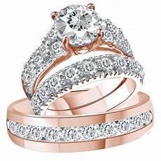 14k solid rose gold d vvs1 diamond trio bridal wedding ring band ebay