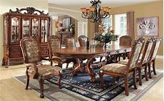 medieve oak rectangular extendable trestle dining room from furniture of america