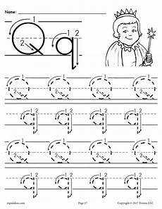 letter tracing worksheets q 23275 printable letter q tracing worksheet with number and arrow guides supplyme