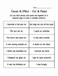 cause effect 3 printable worksheet activities matching cut paste finish the chart