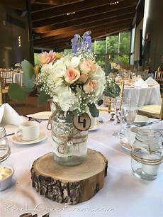 table 4 wooden disk with lace wrapped jar rustic burnt table number and white