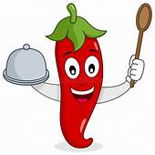 Red Hot Chili Pepper With Tray And Spoon Stock Vector