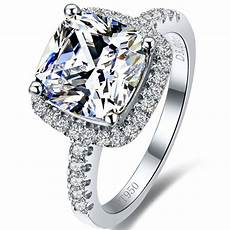 sale 3 carat cushion cut cushion synthetic diamonds engagement ring 925 sterling silver ring