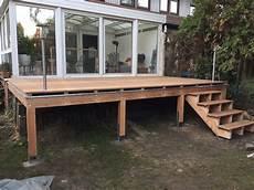 Erh 246 Hte Terrasse Aus Bangkirai Mit Holztreppe Und