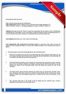 free printable partnership dissolution agreement form generic