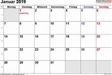 Kalender Januar 2019 Als Pdf Vorlagen