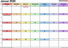 kalender januar 2020 als pdf vorlagen