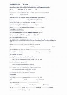 song worksheet seven years by lucas graham