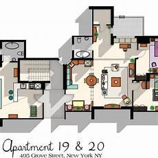 Sitcom Apartment Blueprints by Friends Tv Show Apartment Floor Plan Friends Tv Show