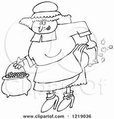 clipart of an outlined pilgrim farting royalty free vector illustration by djart 1219036