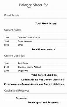balance sheets using assets liabilities and capital for balance sheet reports