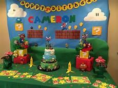 deco anniversaire mario mario birthday treat table decor and cake in 2019
