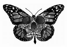 Black And White Design Of A Butterfly Skull Pencil